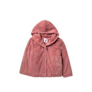 Elodie Faux Fur Jacket Ribbed Hooded Snap Front